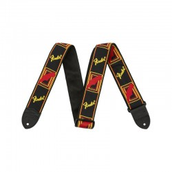 "Fender 2"" Monogrammed Strap, Black/Yellow/Brown - pasek do gitary"