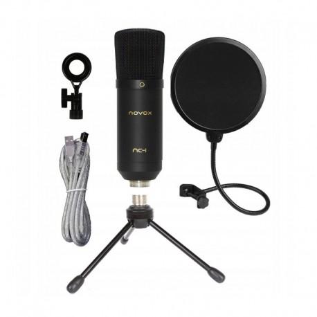 NOVOX NC - 1 mikrofon pojemnościowy USB zestaw: NC-1 + statyw biurkowy + POP filtr