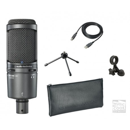 AUDIO TECHNICA AT2020 USB + mikrofon pojemnościowy USB + akcesoria