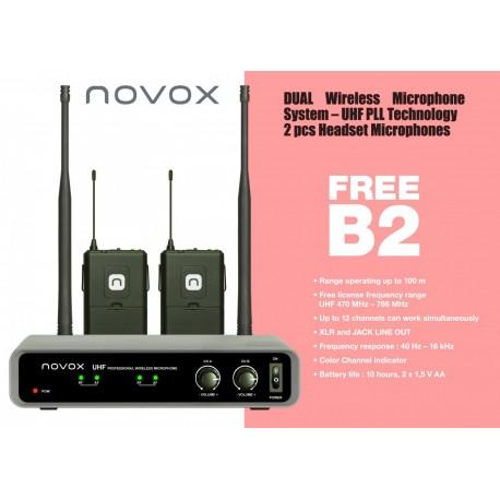 NOVOX FREE B2 zestaw bezprzewodowy: 2 mikrofony nagłowne