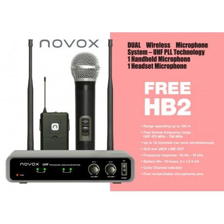 NOVOX FREE HB2 zestaw bezp.: 1 mikrofon do ręki + 1 mikrofon nagłowny