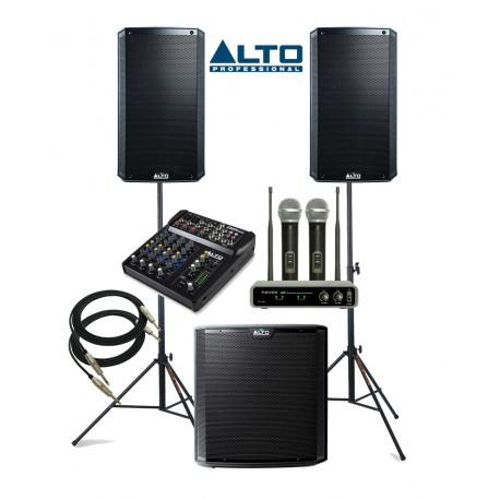 ZESTAW NAGŁOŚNIENIOWY ALTO 2+1: 2xTS212 + 1xTS215S + 2x statyw + 2x mikrofon bezprzewodowe + okablowanie